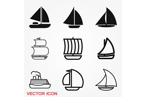 Boat icon vector in trendy flat