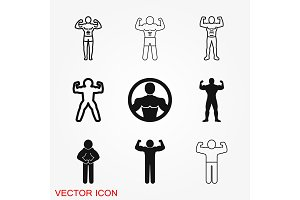 Bodybuilder icon, muscle sign
