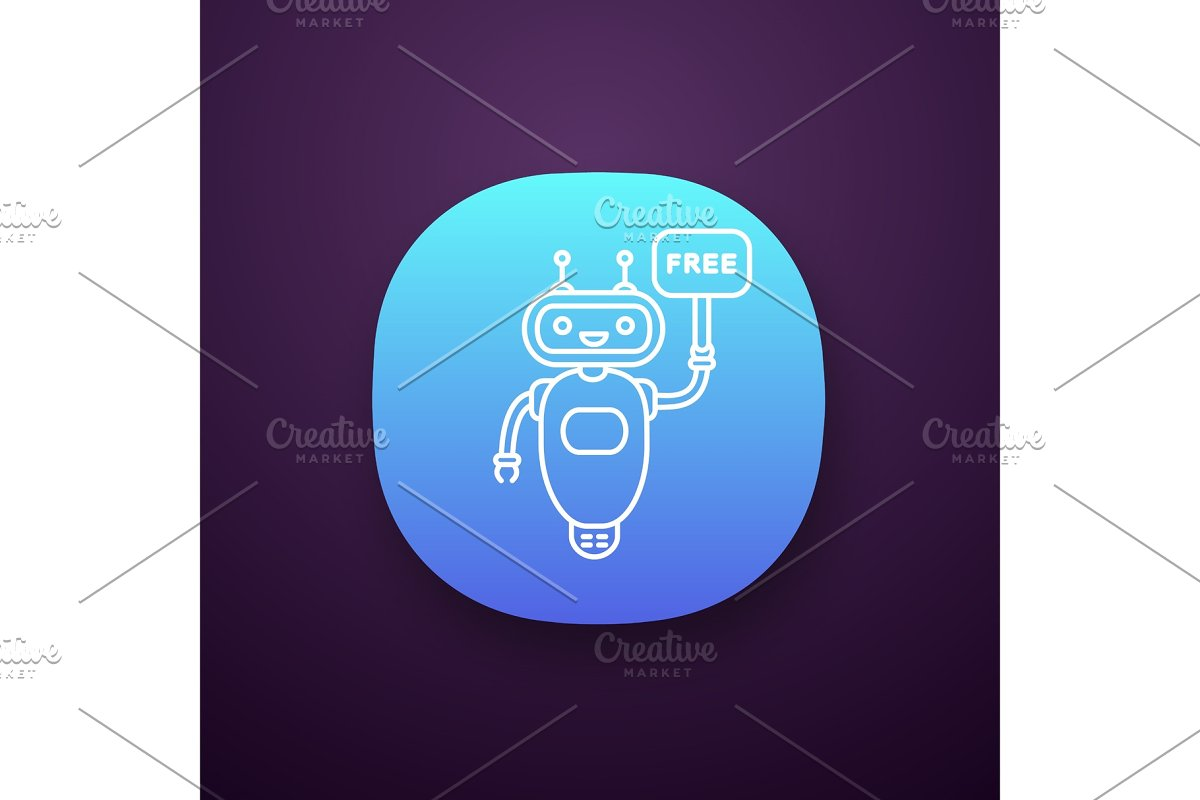 Chatbot with speech bubble app icon