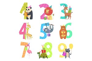 Birtday numbers animals. Party fun