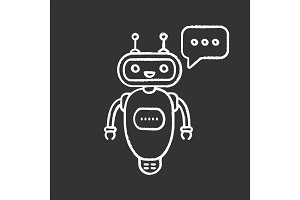 Chatbot typing answer chalk icon