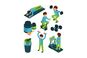 Sport people isometric. Exercises