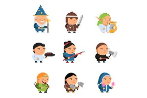 Fantasy characters. 2d game sprite