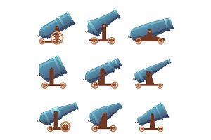 Cannon retro guns. Military pirate