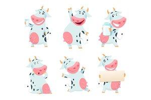 Milk cow animal. Cartoon farm