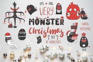 Very Monster Christmas Vector Set