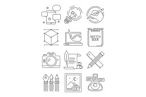 Creative line icons. Process of