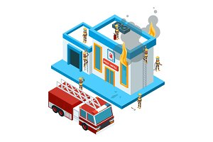 Building in flame isometric