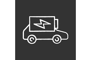 Electric car battery charging icon