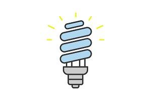 Energy saving light bulb color icon