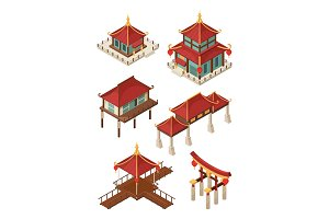 Asian architecture isometric