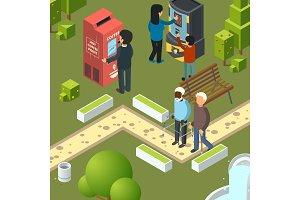Vending machines urban park