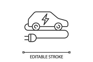 Electric car linear icon