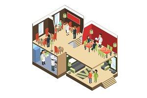 Restaurant interior. Isometric bar