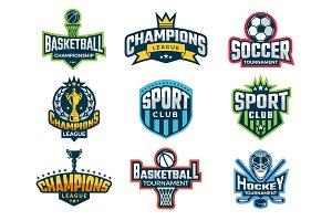 Sport logos. Emblem of college team