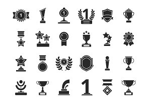 Winners trophies icons. Cups awards