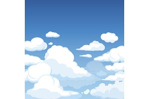 Sky with fluffy clouds. Clean blue