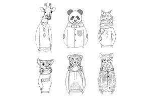Fashion animal characters. Hipster