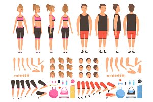 Sport people animation. Fitness male