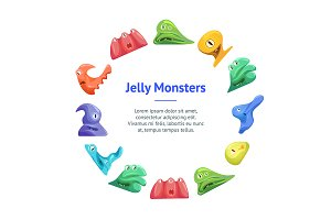Cute Jelly Monsters Concept Set.