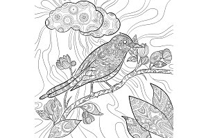 Coloring pages bird. Wild flying