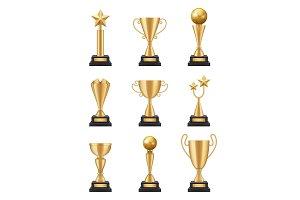 Golden cup realistic. 3d sport