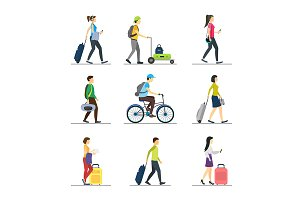 Cartoon People Traveling Set. Vector