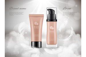 Cosmetics poster. Skin cream plastic