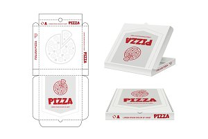 Pizza box design. Unwrap fastfood