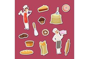 Vector cartoon bakery stickers of