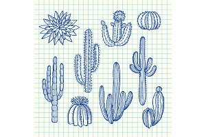 Vector hand drawn wild cacti plants