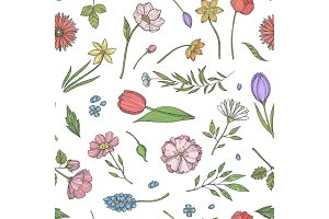 Vector hand drawn flowers pattern or