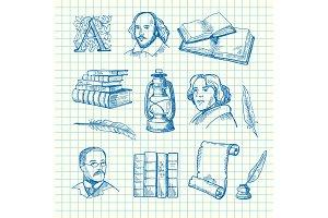 Vector hand drawn theatre elements