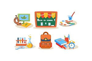 Back to school icons set, different