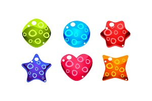 Colorful jelly glossy figures woth