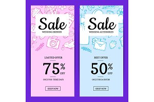 Vector doodle wedding elements sale