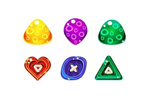 Colorful jelly glossy figures of