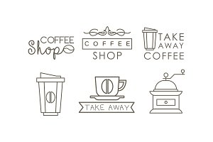 Coffee line icons set, takeaway