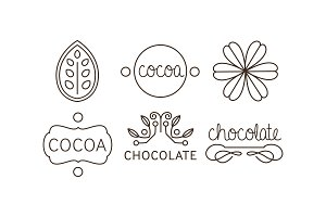 Cocoa and chocolate line icons set