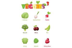 Vector vegetables icon set