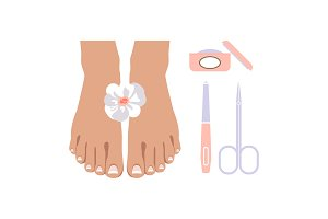 Pedicure icons set, design elements