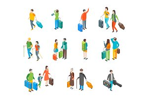 Isometric Travel People Characters