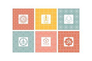Yoga studio logo set, creative