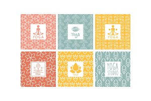 Yoga studio logo design set
