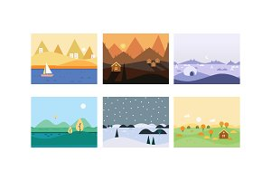 Natural landscape set, cute