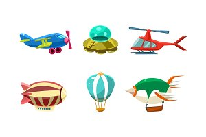 Cute cartoon aircrafts bright
