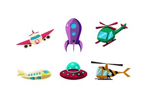 Cute cartoon aircrafts bright