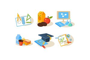 School icons set, different school