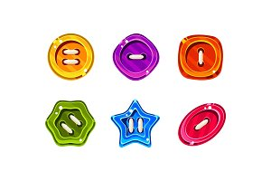 Colorful jelly glossy buttons for