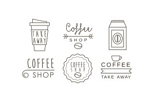 Coffee shop line icons set